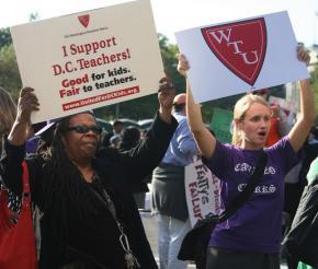 Protesting teachers' layoffs in Washington, D.C.