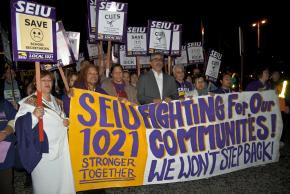 SEIU Local 1021 held a protest against planned layoffs of city workers in San Francisco