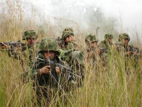 Colombian armed forces on patrol