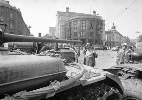 A man confronts Russian tanks during crackdown on Czechoslovakia's 1968 uprising