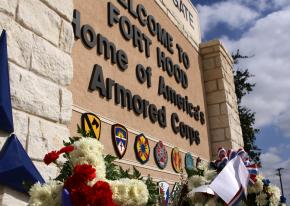 The main gate at Fort Hood Army Base in Texas