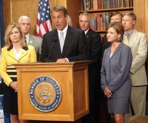 House Minority Leader John Boehner and Republican House members speak to reporters