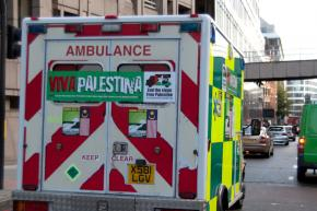 One of 15 Viva Palestina ambulances stocked with aid, as it sets off from London