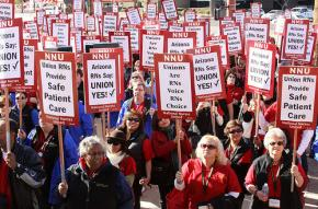 Members of the new National Nurses United at a rally