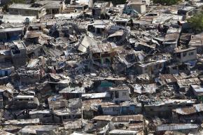 Homes destroyed in a poor neighborhood of Port-au-Prince