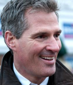 Republican candidate Scott Brown greeting supporters on the campaign trail