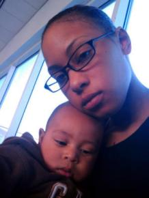 Army Spc. Alexis Hutchinson with her son Kamani