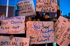 Choir Academy of Harlem students protest the threatened closing of their school