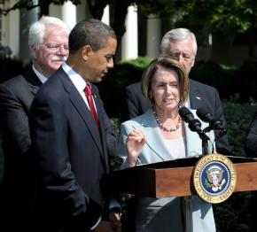 Pelosi, Obama, and other leading Democrats give a press conference on the current health care reform legislation