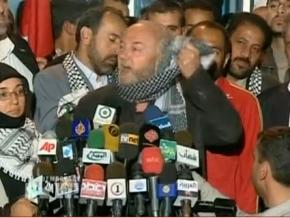 George Galloway and other members of Viva Palestina at a press conference after reaching Gaza