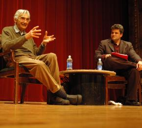 Howard Zinn and Dave Zirin at the 2009 Campaign to End the Death Penalty convention