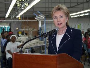 Hillary Clinton celebrates job creation in Haiti inside a clothing factory