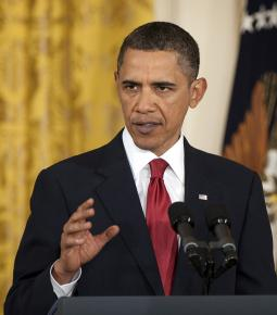 President Obama speaking in the East Room of the White House