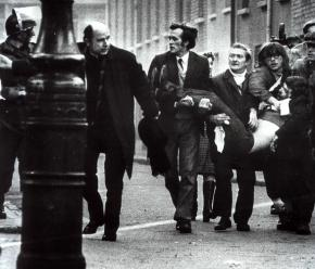 Protesters at the January 30, 1972 march carry the body of a victim of the Bloody Sunday shooting