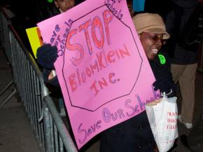 Protesters gathered at Mayor Michael Bloomberg's Upper East Side home to protest threatened closures