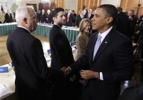 President Obama greets Republican Sen. John Kline at the White House health care summit