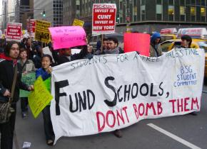 Hunter College students march to the citywide rally for the March 4 Day of Action