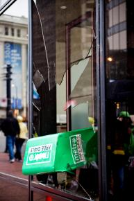 A window at a downtown Vancouver bank, allegedly broken by protesters