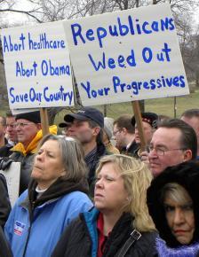 Tea party protesters in St. Paul, Minn., protest the Democrats' health care legislation