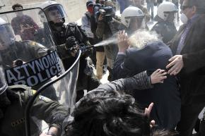 Riot police didn't hesitate to pepper-spray 88-year-old Manolis Glezos, a living legend of the anti-Nazi resistance during the Second World War