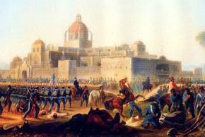 A painting depicting invading U.S. forces attacking in the battle of Churubsco, against a stronghold defended by the San Patricios