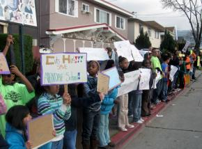 Students from Allendale Elementary School students and teachers in Oakland
