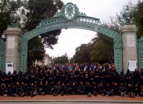African American students at UC Berkeley protest outside the Sather Gate