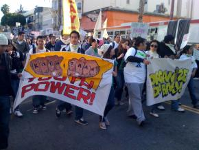 Students from Mission High School joined other San Francisco protesters for a march up Mission Avenue on March 4
