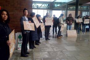 Protesting against education cuts at UMass Boston