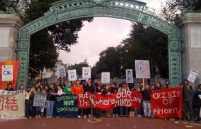 Demonstrators block Sather Gate at UC Berkeley