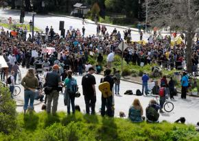 Hundreds of students gathered at the base of the UC Santa Cruz campus for a March 4 rally