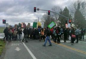 Students blockade an entrance at UC Santa Cruz