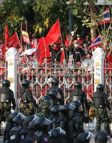 Red Shirt protesters outside Thailand's parliament complex in Bangkok