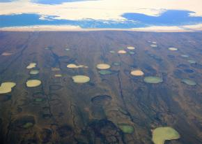 A region of melting permafrost north of the Hudson Bay in Canada