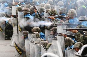 Thai police fire rubber bullets on protesters in Bangkok on Thursday