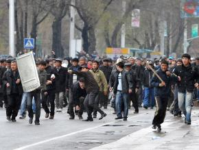 Opposition demonstrators during a confrontation with riot police in the capital of Bishkek