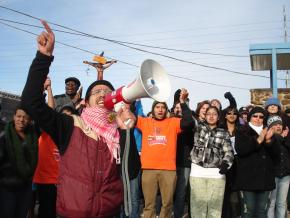 Immigrant rights protesters outside of the Broadview Federal Detention Center