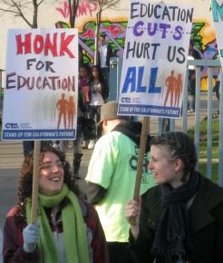 Oakland teachers picketing on the March 4 day of action