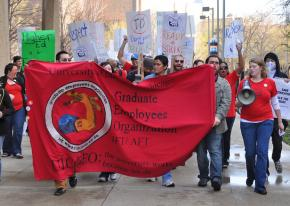 Graduate and undergraduate students were joined by faculty and union workers for a rally to support the GEO