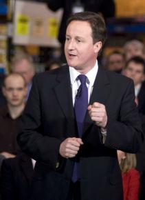 Conservative Party candidate David Cameron on the campaign trail