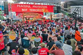 Red Shirts gather for a protest in the Ratchaprasong area in Bangkok