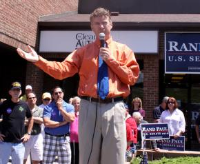 Rand Paul speaks to supporters in Northern Kentucky during the campaign