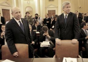 Lloyd Blankfein, CEO of Goldman Sachs, with James Dimon of JPMorgan Chase giving congressional testimony