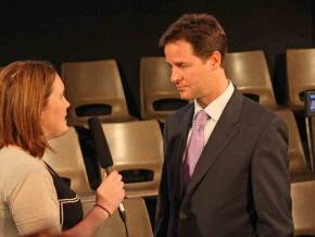 The Liberal Democrats' Nick Clegg speaks to a reporter during the general election campaign