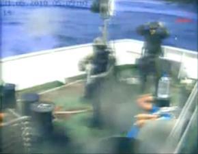 Israeli commandos on the deck of a ship in the Gaza Freedom Flotilla