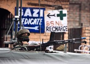 An Indian soldier on patrol in the Srinagar province of Kashmir