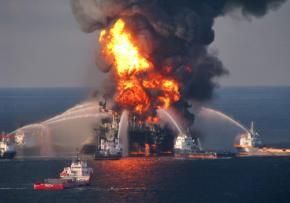 BP's Deepwater Horizon oil rig ablaze on April 21