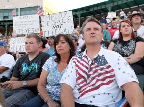 """Supporters of Arizona's racial profiling law gathered for the """"Stand with Arizona"""" rally in Tempe"""