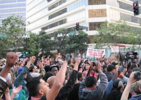 As many as 1,000 people gathered in downtown Oakland to protest the verdict for officer Johannes Mehserle on July 8