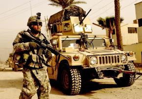 U.S. troops on patrol through Karadah in Iraq